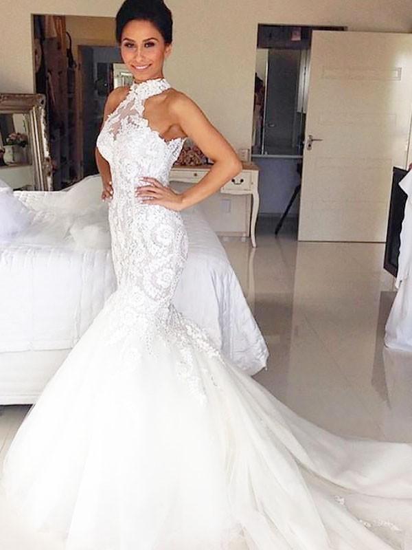Defined Shine Mermaid Style Halter Court Train Tulle Wedding Dresses