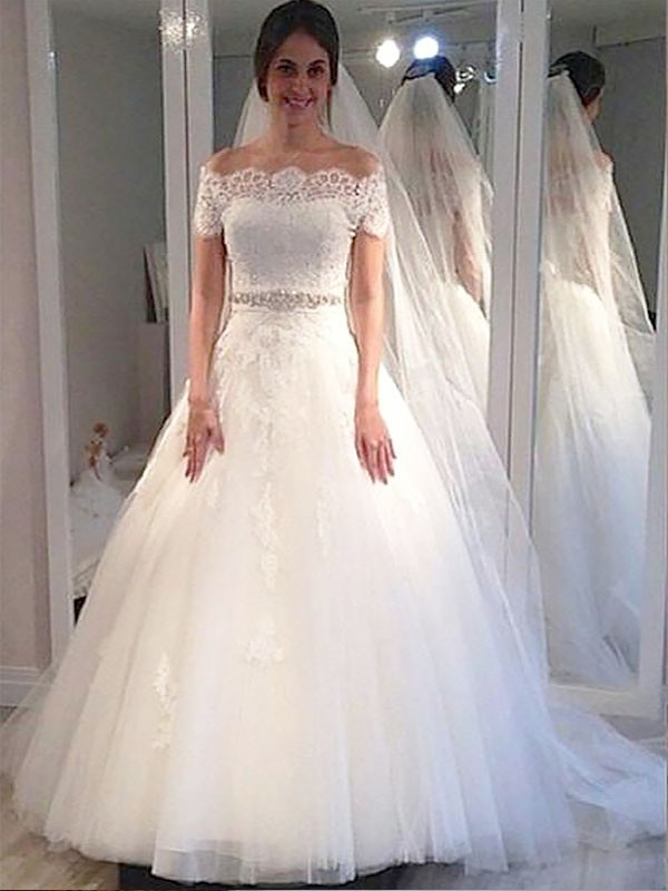 Beautiful You Ball Gown Off-the-Shoulder Tulle Floor-Length Wedding Dresses
