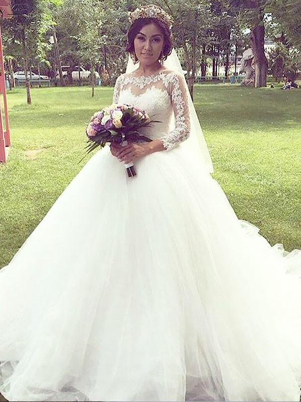 Touch of Texture Ball Gown Tulle Bateau Court Train Wedding Dresses