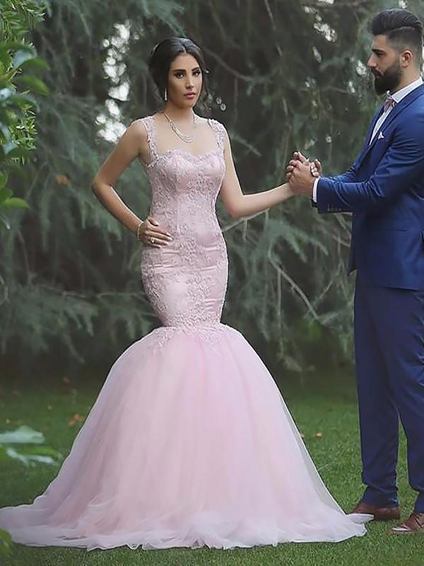 Embracing Grace Mermaid Style Straps Tulle Sweep/Brush Train Wedding Dresses