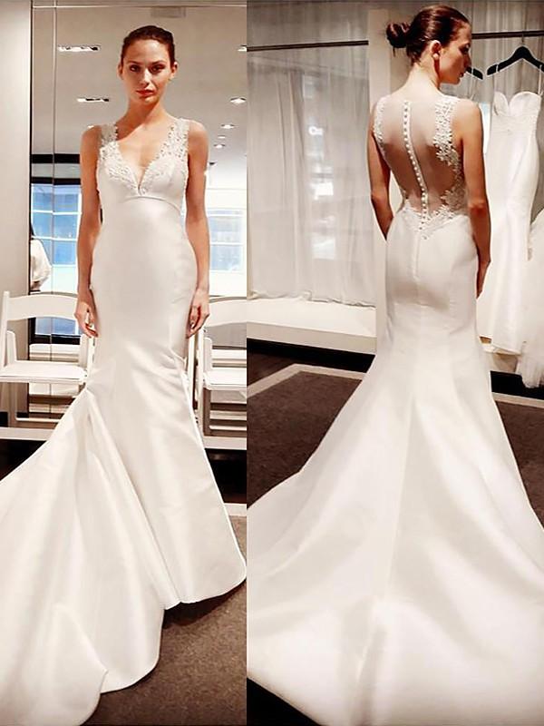 Dashing Darling Mermaid Style V-neck Court Train Satin Wedding Dresses