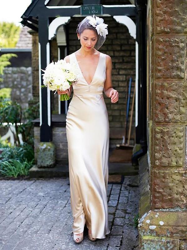 Intuitive Impact Sheath Style Satin V-neck Floor Length Wedding Dresses