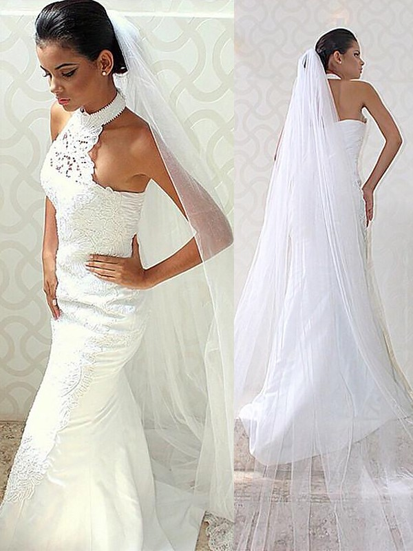Chic Chic London Mermaid Style Halter Sweep/Brush Train Satin Wedding Dresses