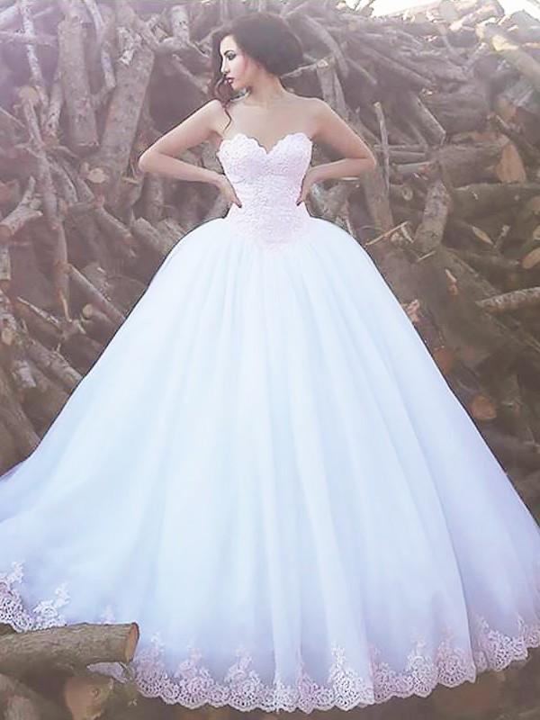 Time to Shine Ball Gown Sweetheart Sweep/Brush Train Organza Wedding Dresses
