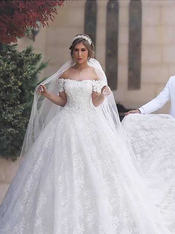 Desired Spotlight Ball Gown Off-the-Shoulder Lace Tulle Court Train Wedding Dresses