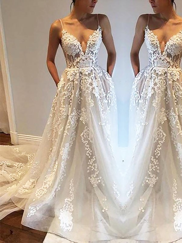Creative Courage Princess Style Spaghetti Straps Court Train Tulle Wedding Dresses