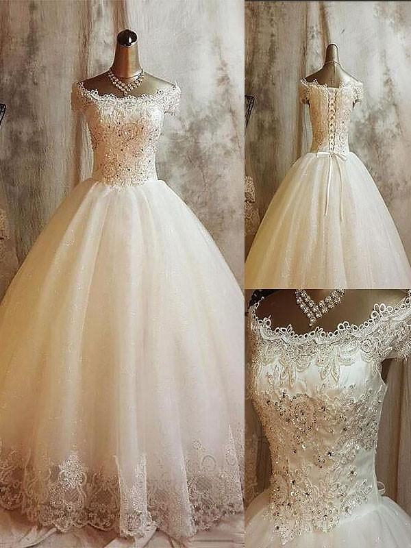 Sweet Sensation Ball Gown With Applique Off-the-Shoulder Sweep/Brush Train Tulle Wedding Dresses