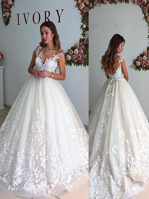 Fabulous Fit Princess Style V-neck Court Train Tulle Wedding Dresses