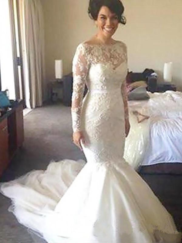 Stylish Refresh Princess Style Bateau Tulle Court Train With Applique Wedding Dresses