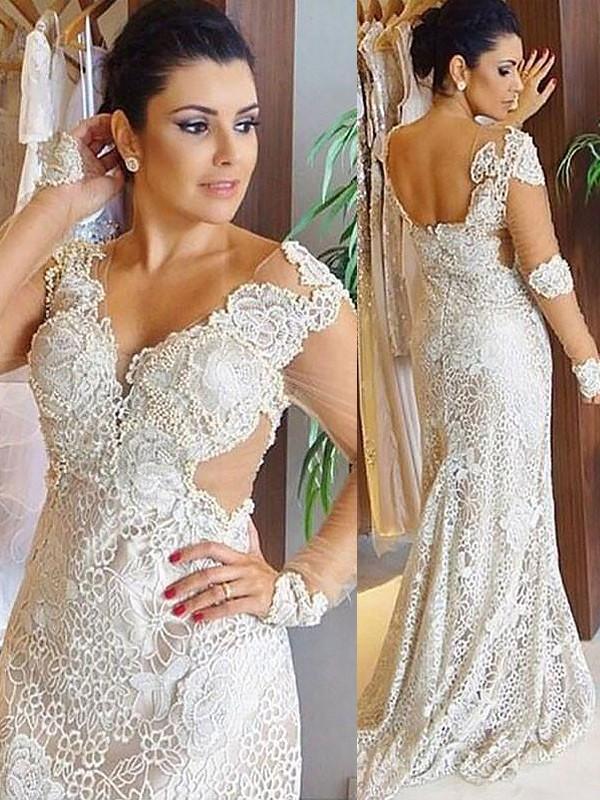 Lively Identity Sheath Style V-neck Lace Sweep/Brush Train Wedding Dresses