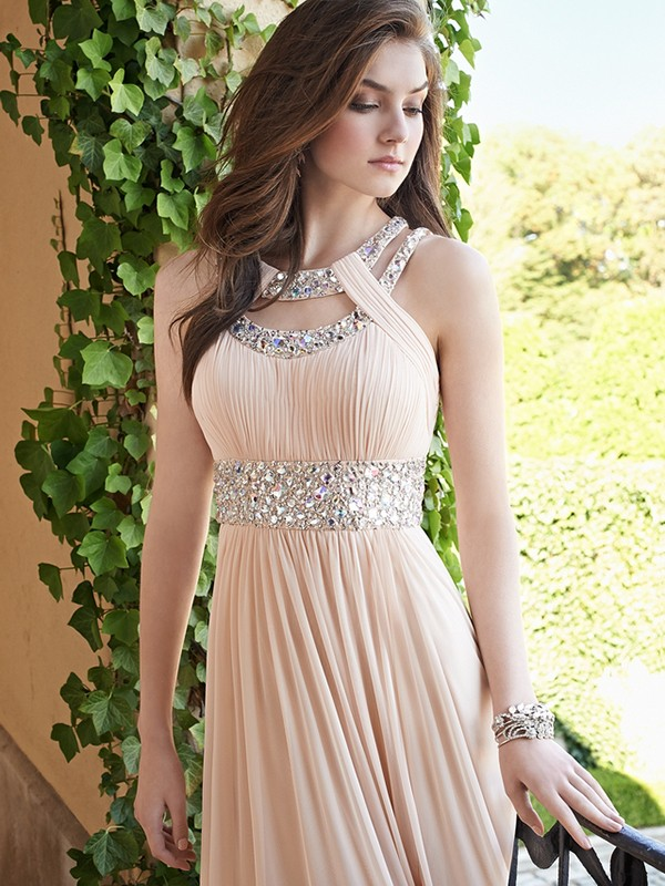 Pleasant Emphasis Princess Style Bateau Beading Chiffon Floor-Length Dresses