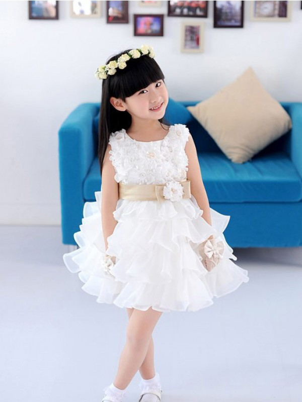 Pleasant Emphasis Princess Style Scoop Hand-made Flower Short Organza Flower Girl Dresses