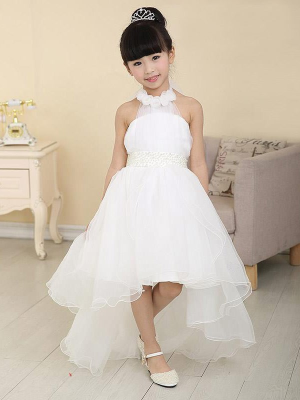 Time to Shine Princess Style High Neck Beading High Low Organza Flower Girl Dresses