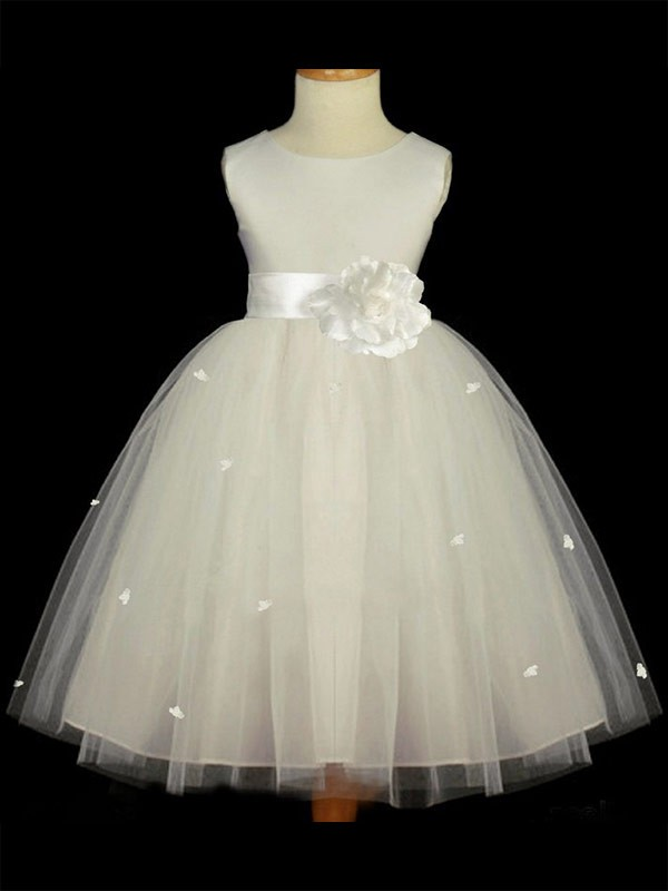 Limitless Looks Princess Style Scoop Hand-made Flower Long Tulle Flower Girl Dresses