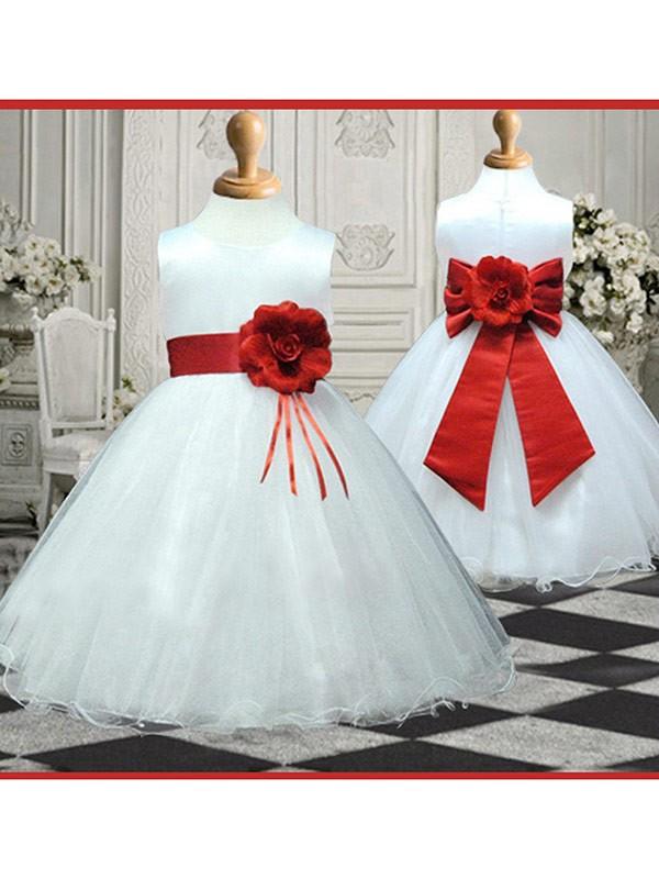 Desired Spotlight Princess Style Scoop Hand-made Flower Long Organza Flower Girl Dresses