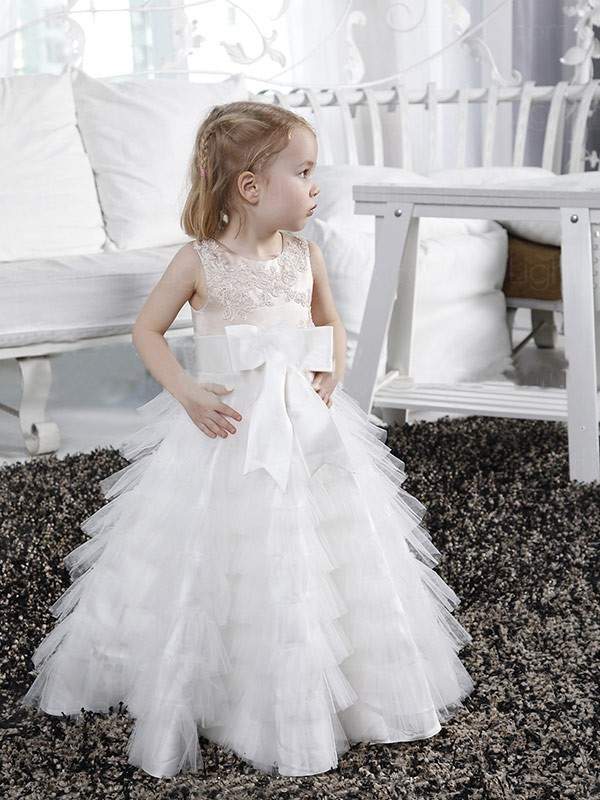 Styled to Smile Princess Style Scoop Bowknot Long Tulle Flower Girl Dresses