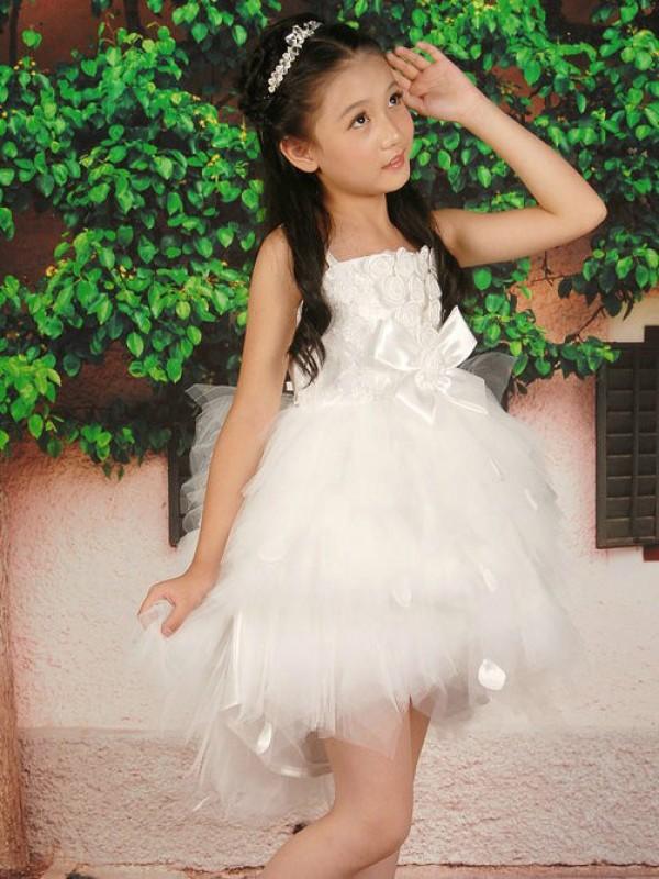 Pretty Looks Princess Style Straps Hand-made Flower Short Tulle Flower Girl Dresses