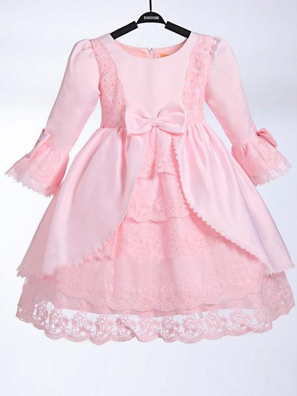 Confident Option Princess Style Scoop  Bowknot Long Satin Flower Girl Dresses