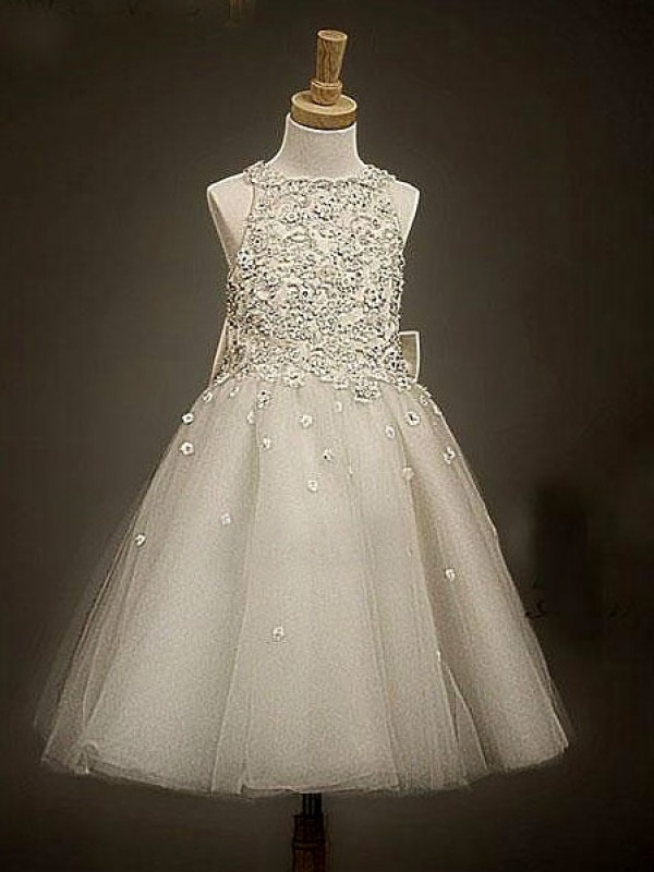 Too Much Fun Princess Style Scoop Bowknot Long Tulle Flower Girl Dresses