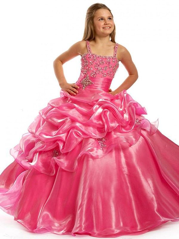 Open to Adoration Ball Gown Straps Beading Long OrganzaFlower Girl Dresses