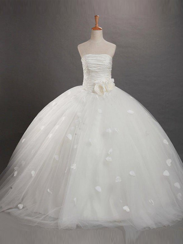 Yours Truly Ball Gown Strapless Ruffles Long Tulle Flower Girl Dresses
