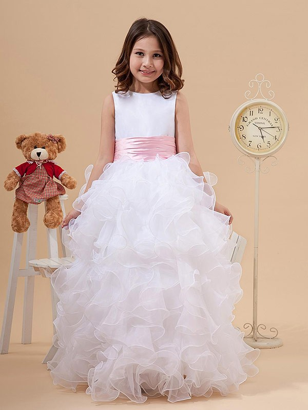 Just My Style Princess Style Scoop Bowknot Long Organza Flower Girl Dresses
