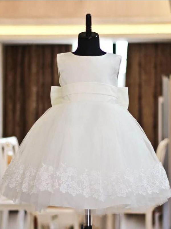 Beautiful You Princess Style Scoop Lace Long Organza Flower Girl Dresses