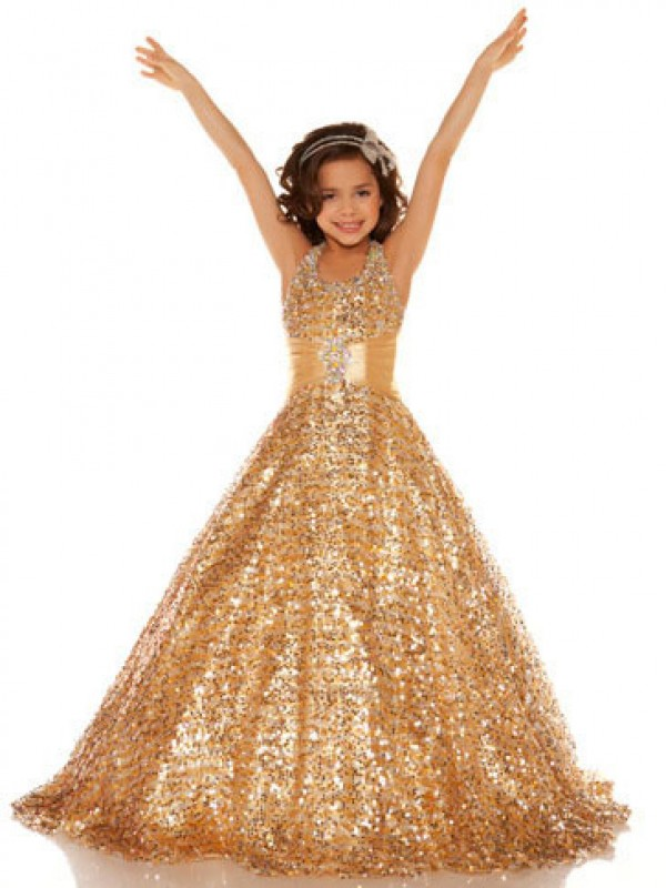 Easily Adored Princess Style Halter Sequin Long Sequins Flower Girl Dresses