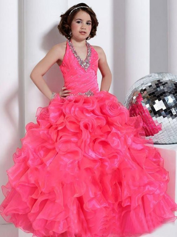 Naturally Chic Ball Gown Halter Beading Long Organza Flower Girl Dresses