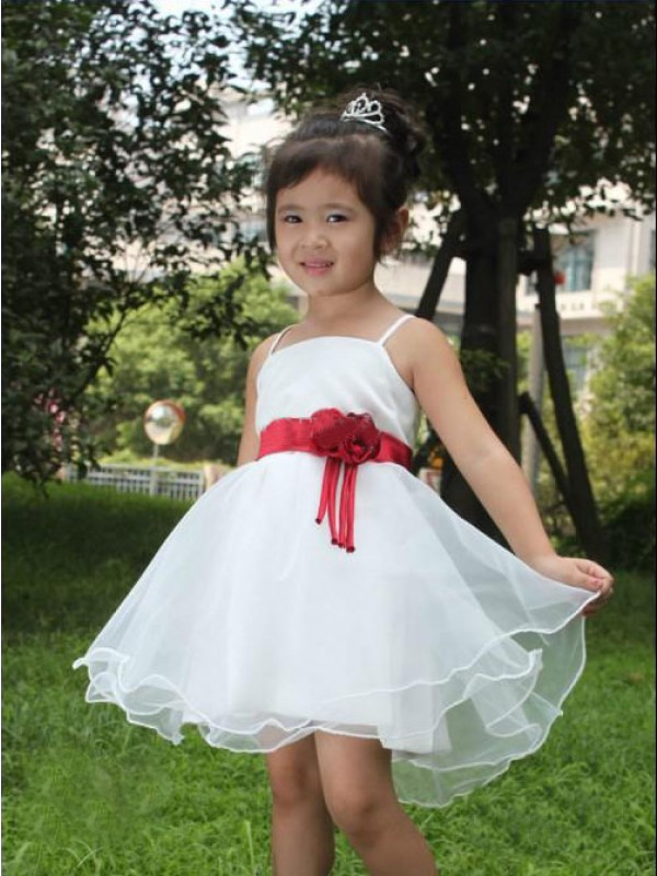 Absolute Lovely Princess Style Spaghetti Straps Hand-made Flower Short Organza Flower Girl Dresses