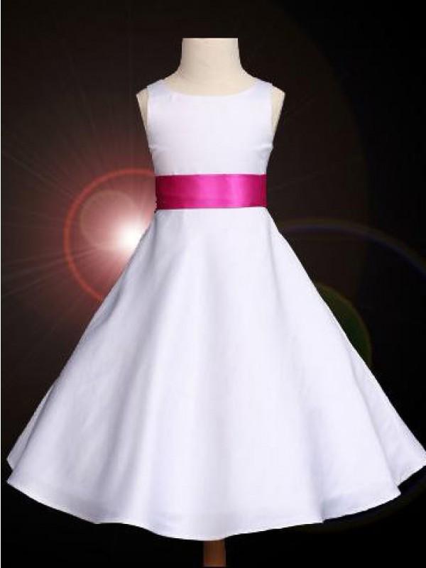 Pleasant Emphasis Princess Style Scoop Bowknot Long Satin Flower Girl Dresses