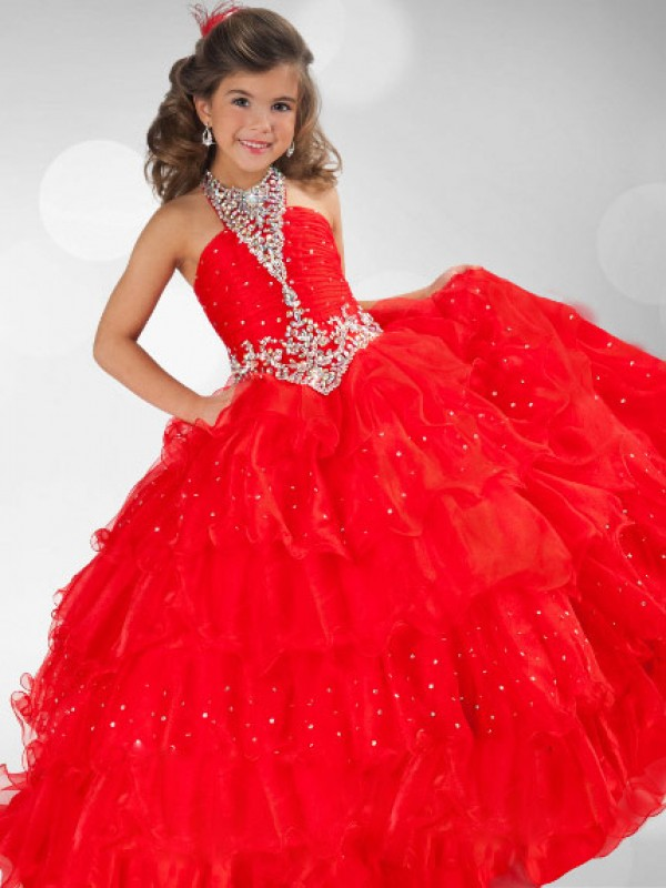 Time to Shine Ball Gown Halter Sequin Rhinestone Long Organza Flower Girl Dresses