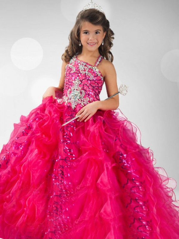 Limitless Looks Ball Gown Straps Sequin Long Organza Flower Girl Dresses