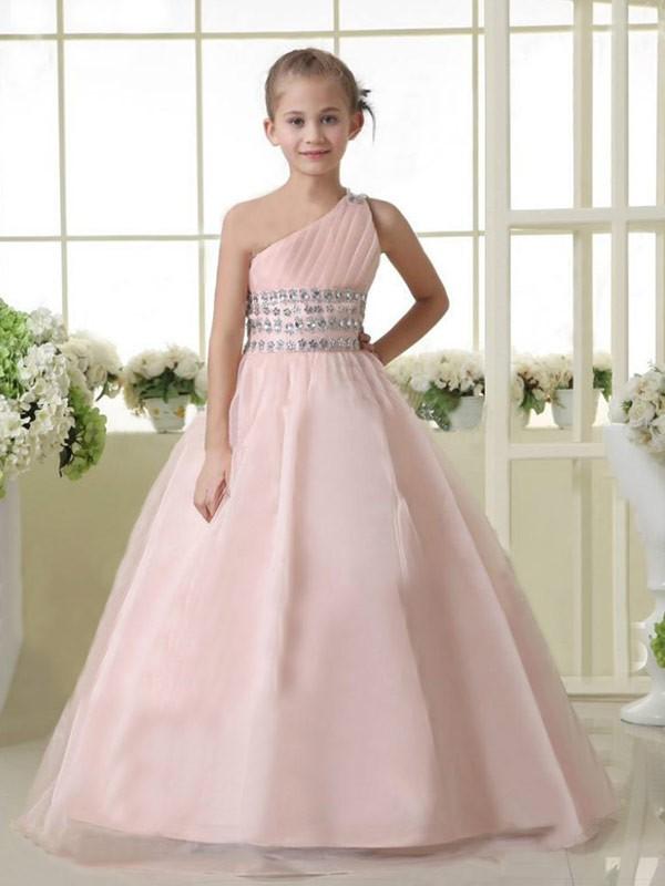 Desired Spotlight Princess Style One-shoulder Beading Long Organza Flower Girl Dresses