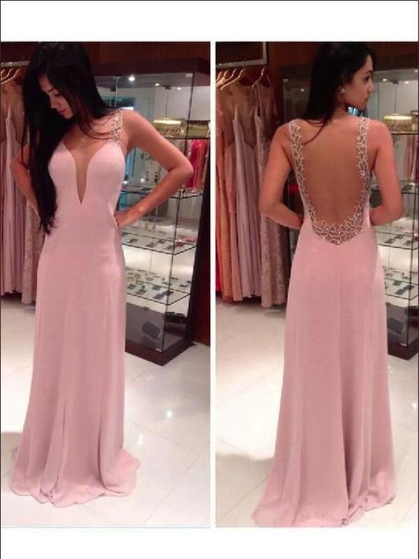 Treasured Reveries Princess Style Straps Beading Floor-length Chiffon Dresses