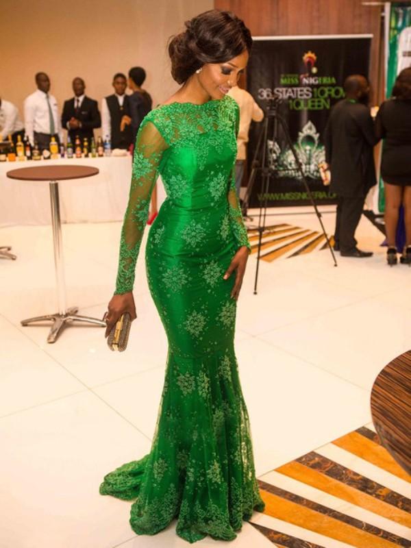 Desired Spotlight Mermaid Style High Neck Applique Floor-Length Satin Dresses