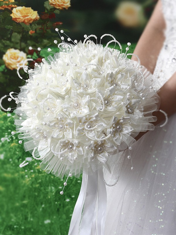 Pure Round Satin Bridal Bouquets