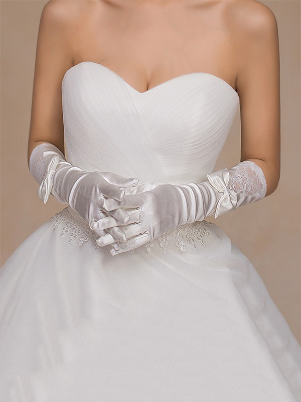 Graceful Cloth Bowknot Wedding Gloves