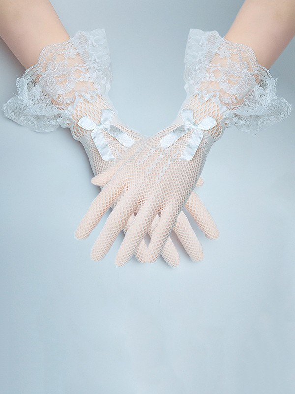 Elegant Lace Bowknot Wedding Gloves