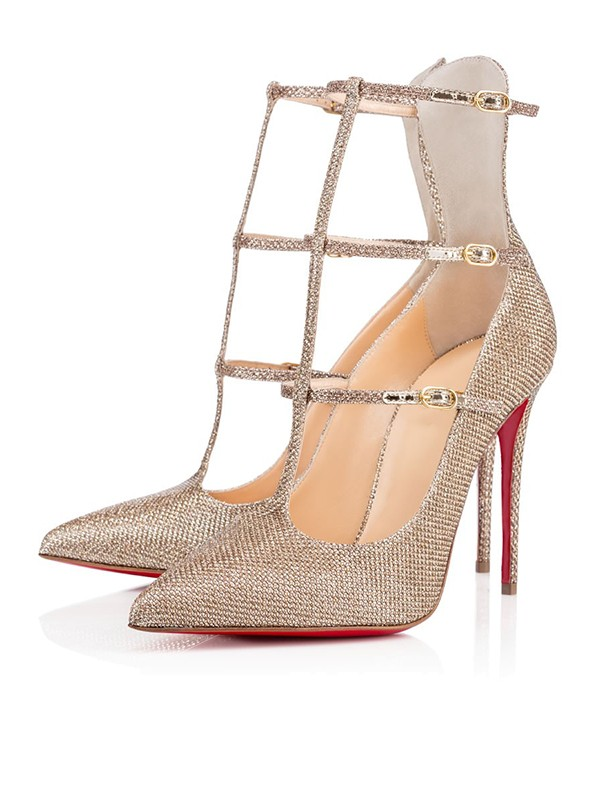 Women's Sparkling Glitter Closed Toe with Buckle Stiletto Heel High Heels