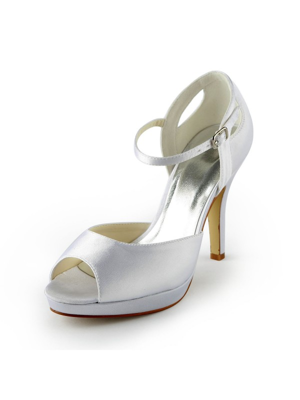 Women's Satin Stiletto Heel Peep Toe Platform Sandals White Wedding Shoes With Buckle