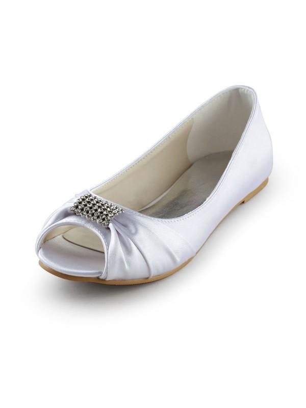 Women's Satin Flat Heel Peep Toe Sandals White Wedding Shoes With Rhinestone