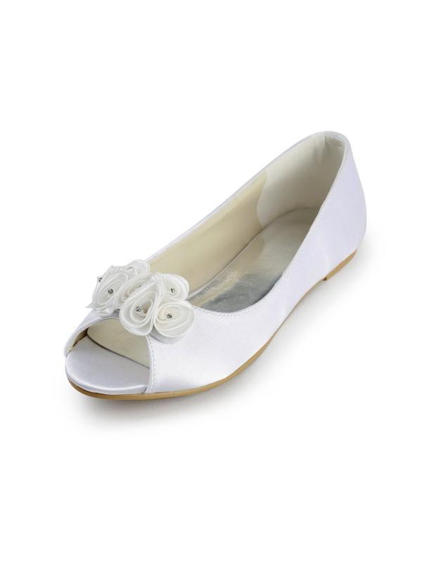Women's Satin Flat Heel Peep Toe Sandals White Wedding Shoes With Satin Flower