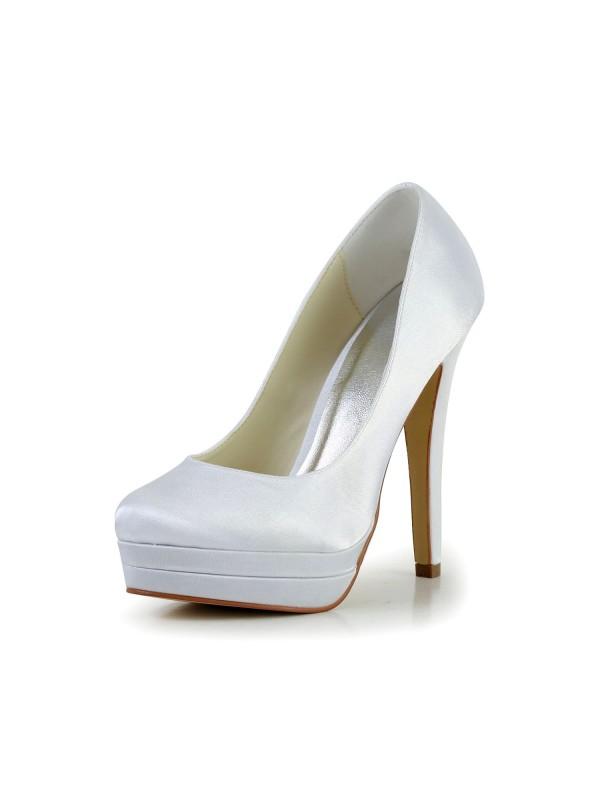 Women's Satin Stiletto Heel Closed Toe Platform White Wedding Shoes