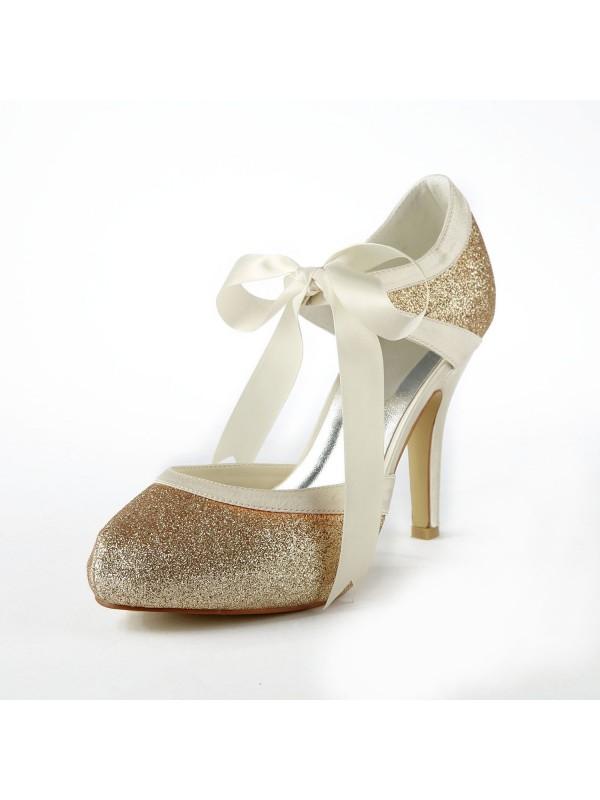 Women's Satin Stiletto Heel Pumps With Sparkling Glitter White Wedding Shoes