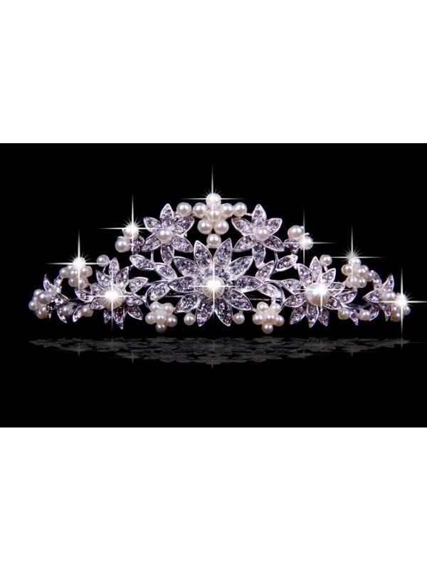 Stunning Czech Rhinestones Flowers Pearls Wedding Headpieces