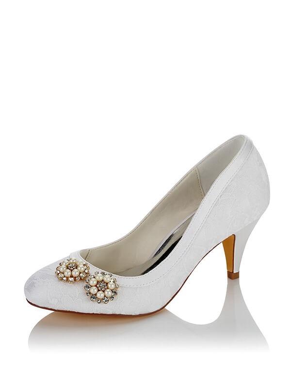 Women's PU Closed Toe Spool Heel Wedding Shoes
