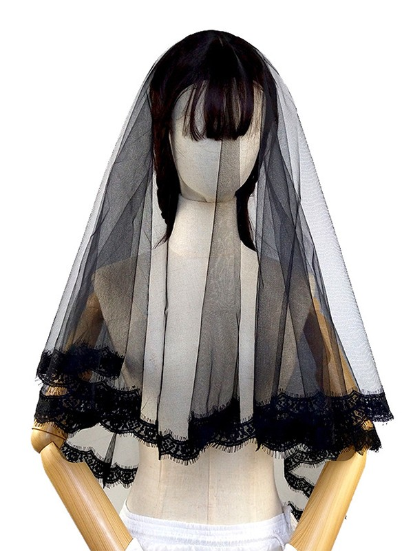 Chic Tulle With Lace Wedding Veils