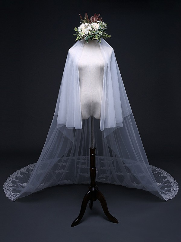 Beautiful Tulle With Applique Long Wedding Veils