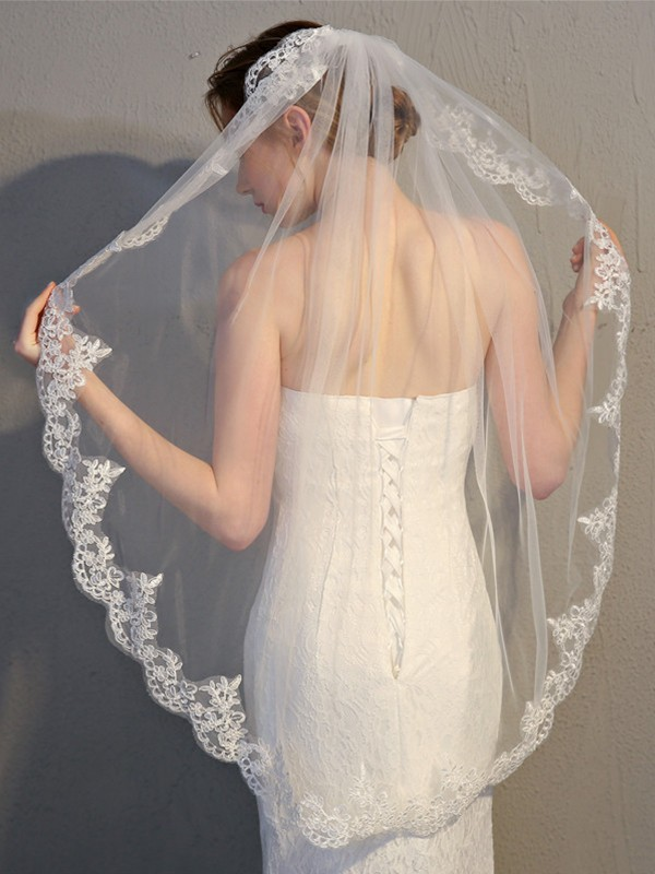 Graceful Tulle With Lace Wedding Veils